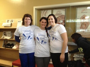From left are Faculty Advisor for Vega, Laura Hess Brown, Ph.D., and Walk-a-thon organizers and Vega members Brittni Switser and Annmarie Griffith.