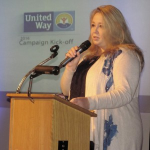 Karrie Damm, executive director of the Child Advocacy Center of Oswego County (CAC) addresses attendees at the United Way of Greater Oswego County?s Annual Campaign Kick-Off Breakfast