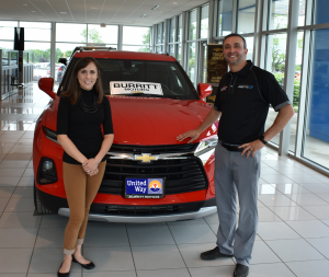 Participants at the 24th annual United Way Golf Tournament will once again have the chance to drive away in a brand new vehicle thanks to a hole-in-one contest offered by major sponsor Burritt Motors. Above are United Way Resource Development Director Lexie Wallace and President of Burritt Motors Rich Burritt. For more information about this year?s tournament, visit oswegounitedway.org or email rddunitedway@windstream.net